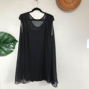 M Made in Italy Silk Layered Mini Dress, Large